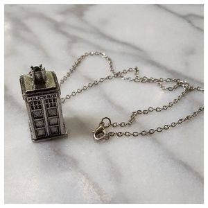Jewelry - TARDIS Police Box Silver Necklace